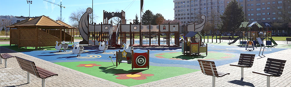 Inclusive playground with accessible surfacing
